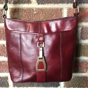 Etienne Aigner burgundy leather crossbody